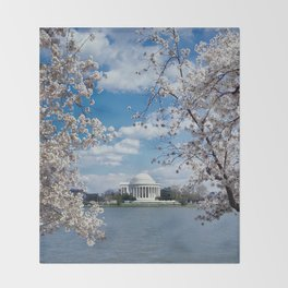 Thomas Jefferson Memorial with Cherry Blossoms  Throw Blanket