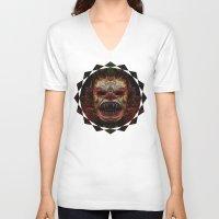 demon V-neck T-shirts featuring Demon by Zandonai