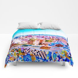 Park Guell Watercolor painting Comforters