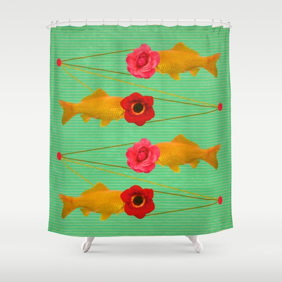 fishes and flowers Shower Curtain