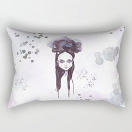 Watercolors Wednesday - Dark thoughts & messy hair Rectangular Pillow