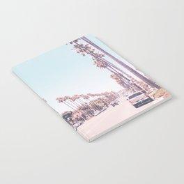 California Sidewalks // Blue Ocean Skyline Roadside Palm Trees Tropical Hollywood Paradise Notebook