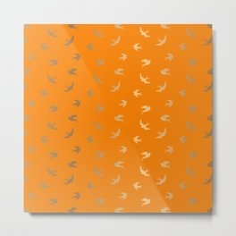Gold Flying Birds Seamless Pattern on Orange background Metal Print