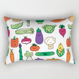 Cute Smiling Happy Veggies on white background Rectangular Pillow
