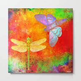 The Dragonfly and the Butterfly Metal Print