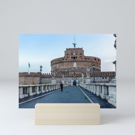 Ponte Sant'Angelo and Castel Sant'Angelo at early morning in Rome, Italy Mini Art Print