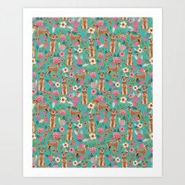 Irish Terrier florals dog breed pet pattern dog art pet friendly terriers portrait Art Print