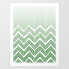Broken Chevrons (Green) Art Print
