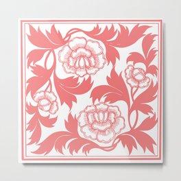 Pink Flowers Motif Metal Print