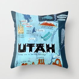 UTAH map Throw Pillow