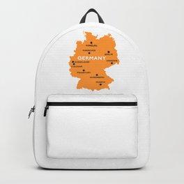 Germany Map Berlin Dusseldorf Frankfurt Munich Backpack