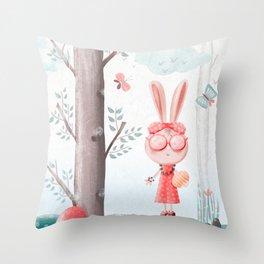 A Girl Bunny Throw Pillow