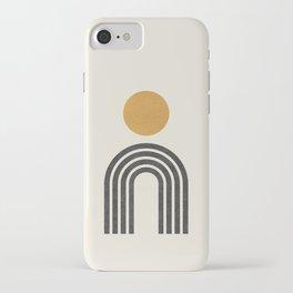 Mid century modern gold iPhone Case