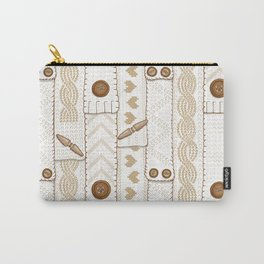 Scarves Knitted Buttoned - Beige Carry-All Pouch