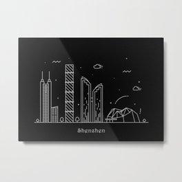 Shenzhen Minimal Nightscape / Skyline Drawing Metal Print