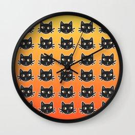 Black Cats Halloween Pattern Wall Clock