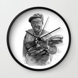 The old French man and his baguette Wall Clock