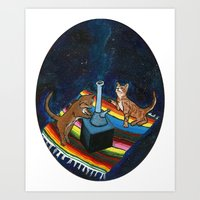 Stoner Kittens in Outer-Space Art Print