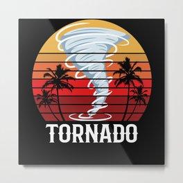 Retro Vintage Tornado Palm Storm Motif Metal Print
