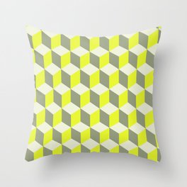 Diamond Repeating Pattern In Limelight Yellow Gray and White Throw Pillow