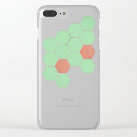 Mint Honeycomb Clear iPhone Case