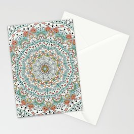 White and green floral mandala Stationery Cards
