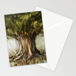 little fox on tree Stationery Cards
