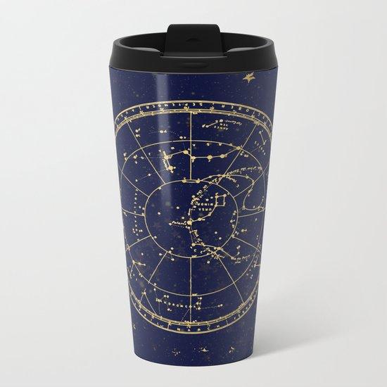 Metallic Gold Vintage Star Map 3 Metal Travel Mug