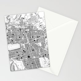 Vintage Map of Marseille France (1840) BW Stationery Cards