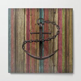Rustic Anchor on Faux Wood Metal Print