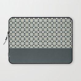 Pantone Cannoli Cream Square Petal Pattern on PPG Night Watch Pewter Green Laptop Sleeve