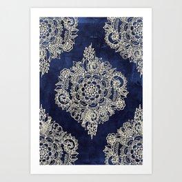 Cream Floral Moroccan Pattern on Deep Indigo Ink Art Print