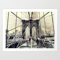 brooklyn bridge Art Prints featuring Brooklyn Bridge by takmaj