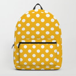 Amber Yellow and White Polka Dot Pattern Backpack