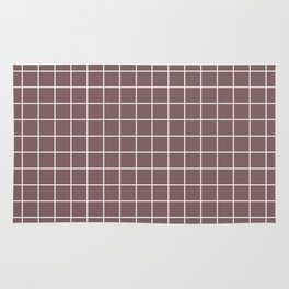Deep taupe - violet color - White Lines Grid Pattern Rug
