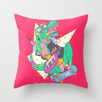 trex Throw Pillows featuring Ju-RAD-ssic Park by Fightstacy