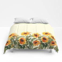 sunflower watewrcolor 2018 Comforters