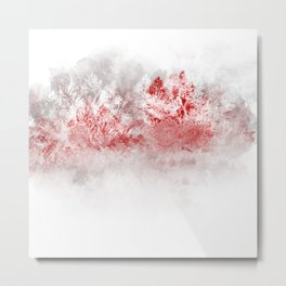 Iced Red Trees Metal Print