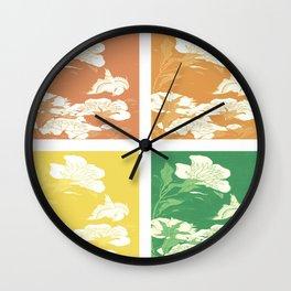 Japanese Birds & Flowers Panel Art earth tones 3 Wall Clock