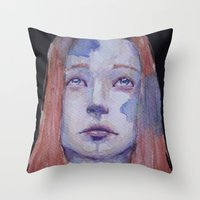 redhead Throw Pillows featuring Redhead by SirScm