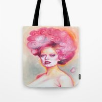 math Tote Bags featuring Red Math by Esther Munoz
