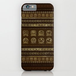 Maya Calendar Glyphs Gold on brown iPhone Case