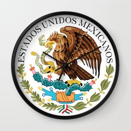 Coat of Arms & Seal  of Mexico on white Wall Clock