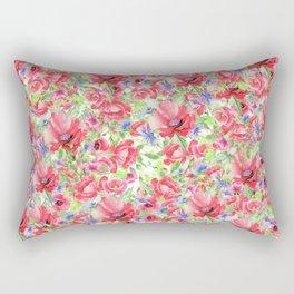 Blanket of Poppies Floral Print Rectangular Pillow