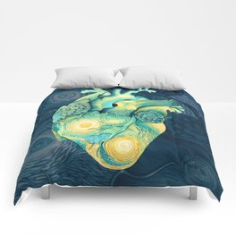 Anatomical Human Heart - Starry Night Inspired Comforters