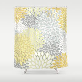 Floral Prints, Soft, Yellow and Gray, Modern Print Art Shower Curtain