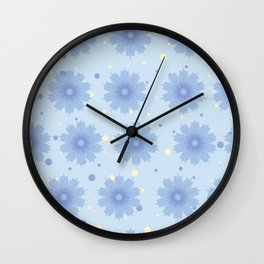 Blue shades blend flowers with polka dot background Wall Clock