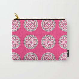 Mandala Pattern in Fuchsia Pink, Grey and White Carry-All Pouch