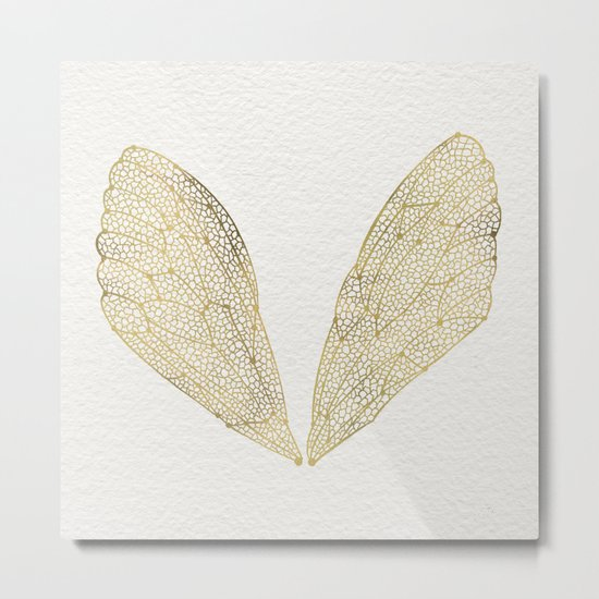 Cicada Wings in Gold Metal Print