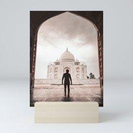 tourist at taj mahal Mini Art Print